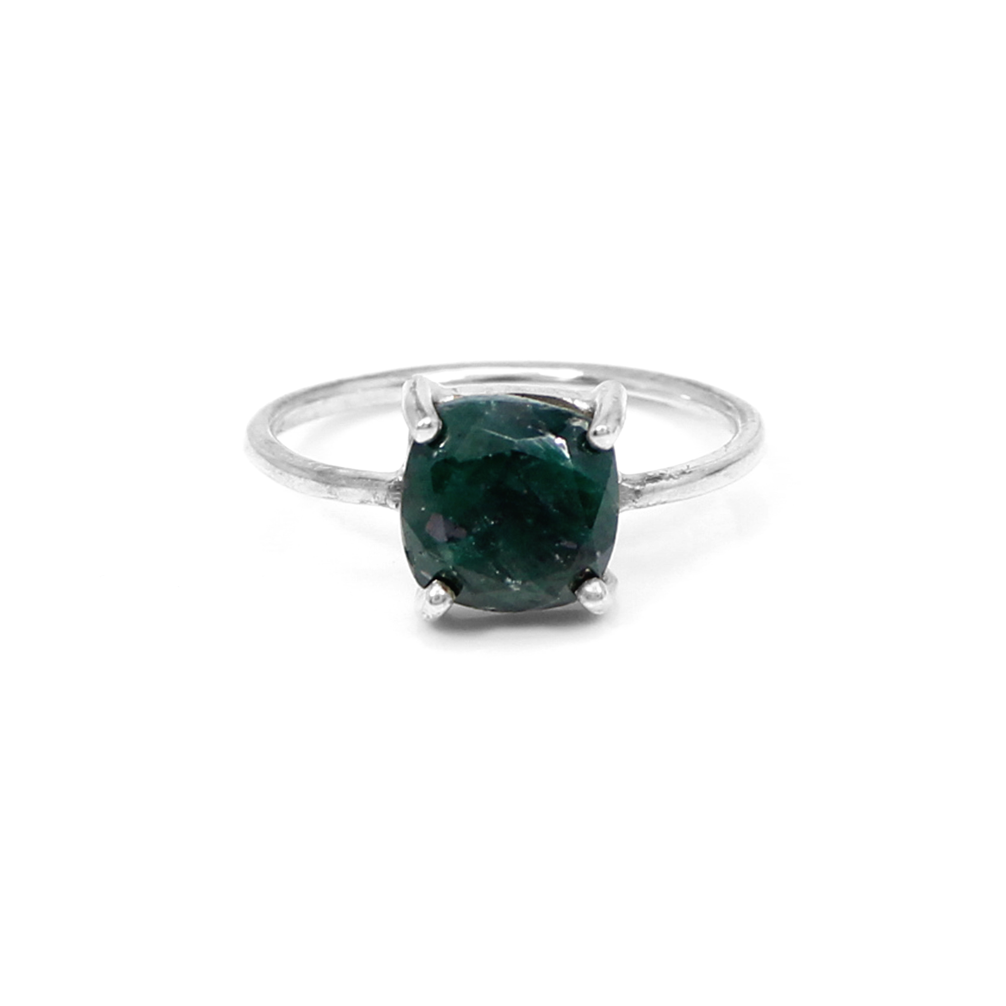 Hot Sale Emerald Corundum Gemstone Ring Solid 925 Sterling Silver Ring Prong Setting Rings Women Dainty Rings Art Deco Rings
