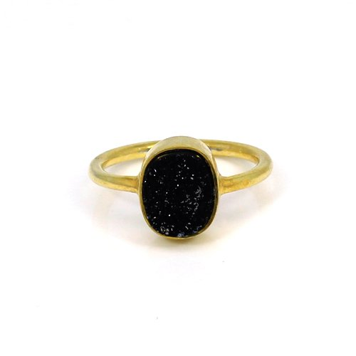 Hot Sale Gold Plating Oval Black Druzy Gemstone Ring Sparkle Rings Solid 925 Sterling Silver Rings Women Dainty Ring Boho Ring