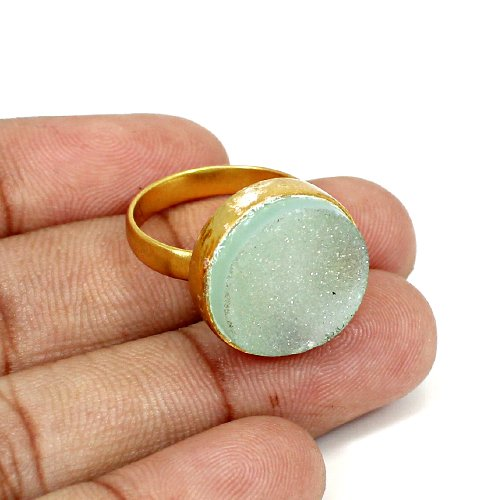 Hot Sale Natural Aqua Druzy Gemstone Ring Brass Vermeil Ring Unisex Sparkle Rings Chemistry Jewelry Birthday Gift For Her Rings
