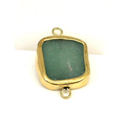 Hot sale Natural Green Aventurine Gemstone Connector Brass Gold Plated Connector Double Loop Connector For Jewelry Making