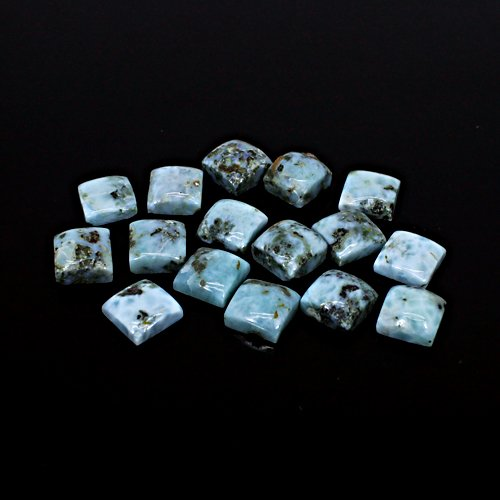 Hot Sale Natural Larimar 9x9mm Square Cabochon 75.85 Cts 16 Pcs Lot Loose Gemstone For Jewelry Making