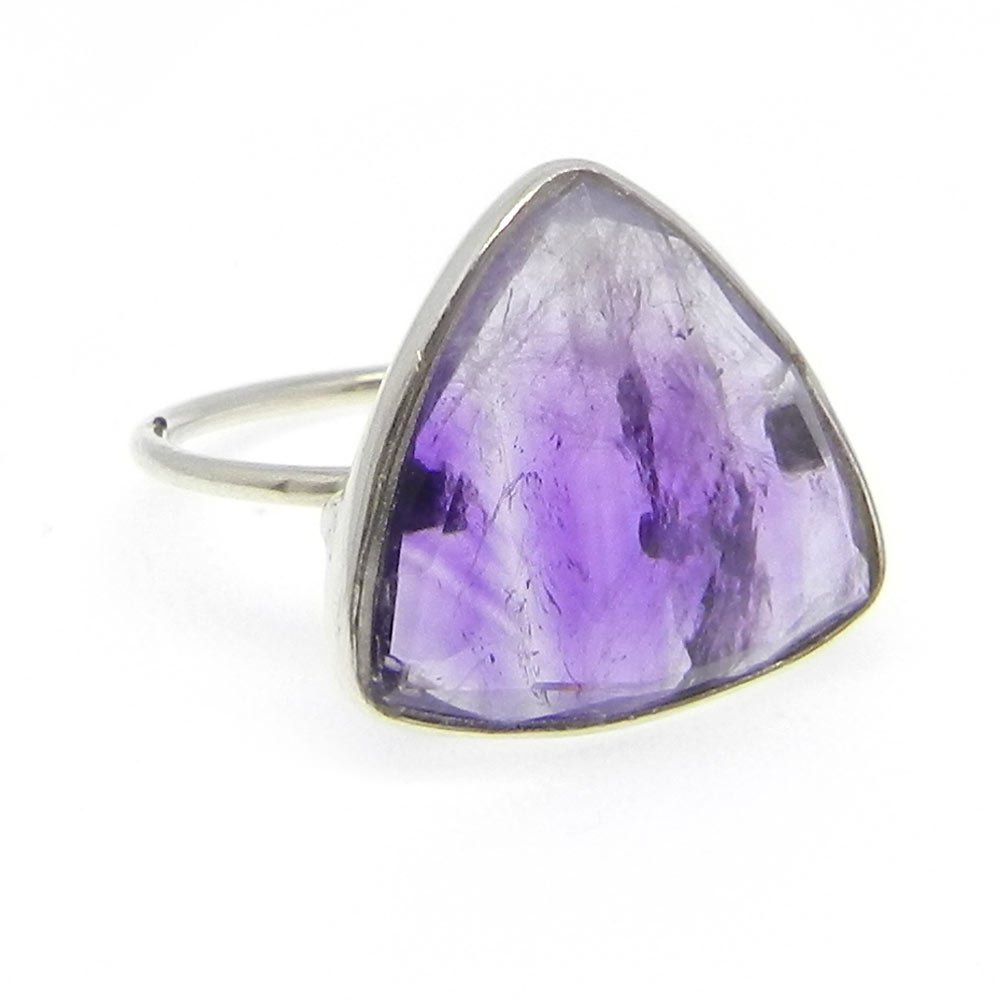 Hot Sale Natural Purple Amethyst Gemstone Ring Solid 925 Sterling Silver Ring Women Statement Ring Fine Bezel Ring