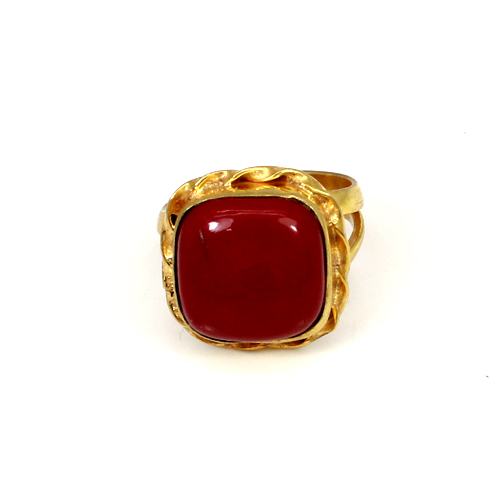 Hot Sale Natural Red Coral Gemstone Ring Brass Gold Plated Ring Cushion Cabochon Rings Wedding & Engagement Rings Gift For Him