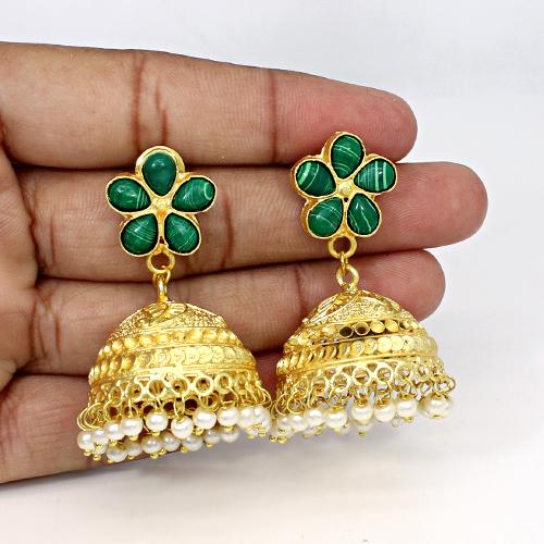 Hot Sale Synthetic Malachite & Pearl Gemstone Jhumkas Brass Designer Women Hanging Dangling Wedding & Engagement Earring