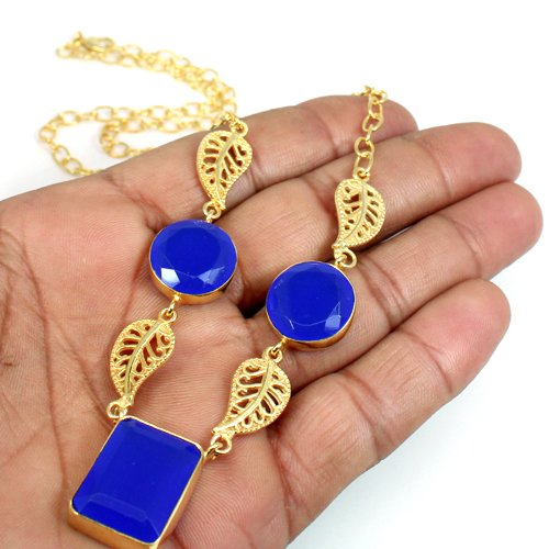 Hot Selling Blue Chalcedony Necklace Gold Plated Necklace Gift For Her