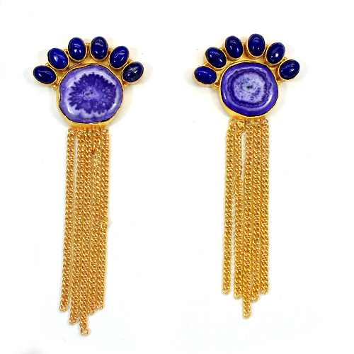 Hot Selling Natural Purple Solar Quartz Druzy & Lapis Lazuli Gemstone Earring Chain Designer Wedding Earring Gold Dangle