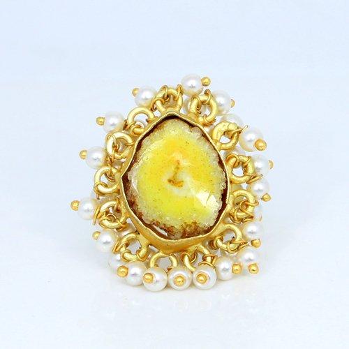 Hot Selling Natural Yellow Solar Quartz Druzy Gemstone Ring Tiny Pearl Designer Adjustable Rings Vermeil Women Engagement Ring