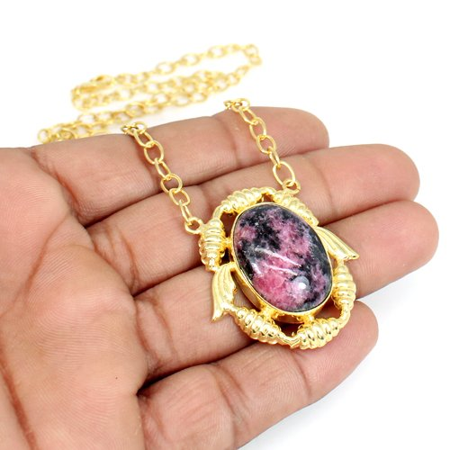 Hot Selling Rhodonite Gemstone Necklace Pendant Necklace Designer Gold Plated Necklace