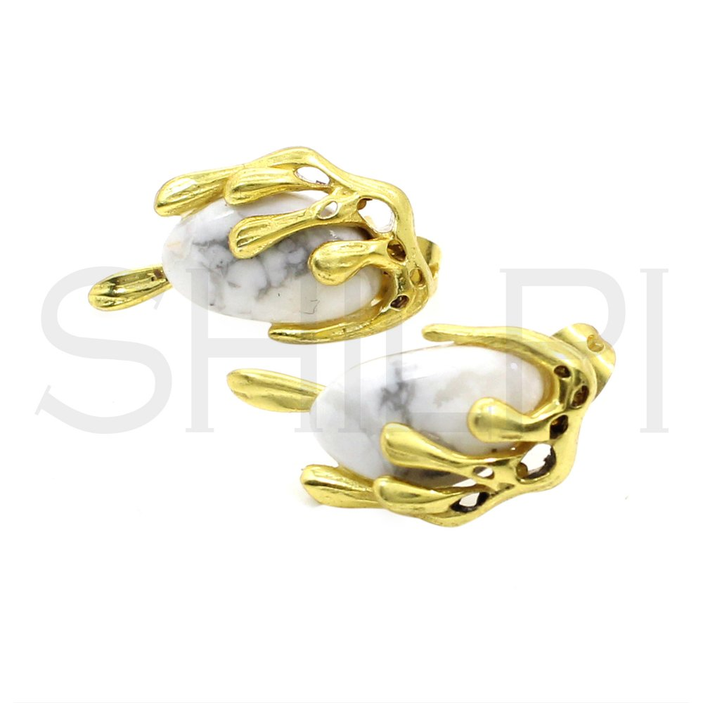 Howlite Gold Plated Designer Handcrafted Stud Earrings