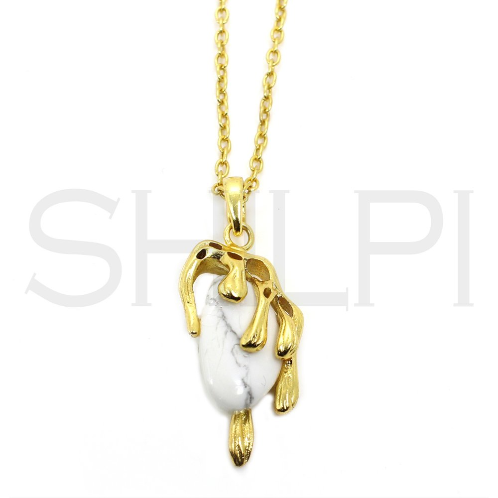 Howlite Gold Plated Long Chain Handmade Necklace
