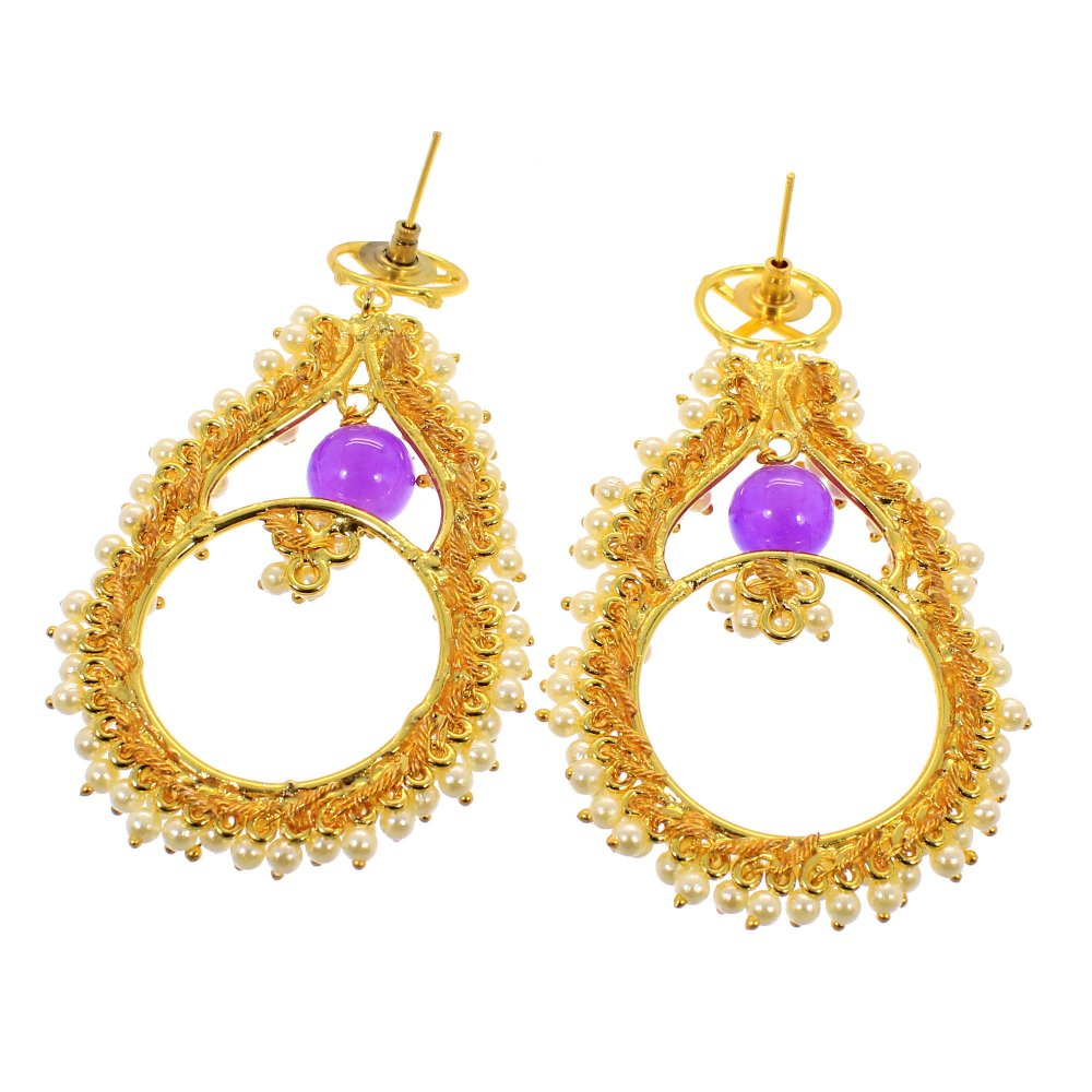 Indian Designer Gold Plated Wedding Chandelier Earring White Pearl Jewelry
