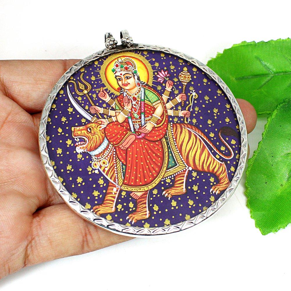 Indian Holy Deity Durga Shakti Mata Hand Painting Silver Pendant