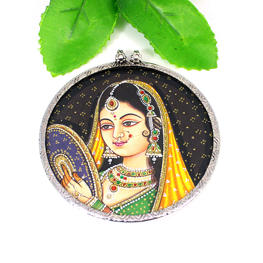 Indian Miniature Art Mughal Princess Handcrafted Painted Pendant