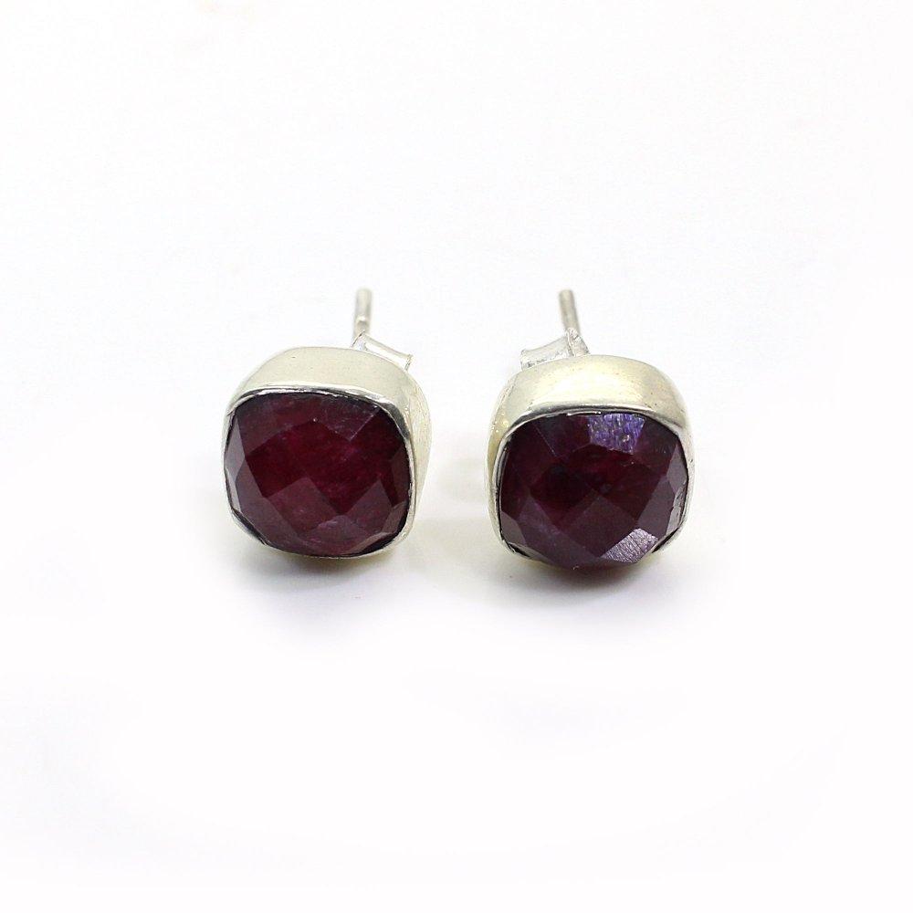 Indian Ruby 925 Sterling Silver Stud Earrings