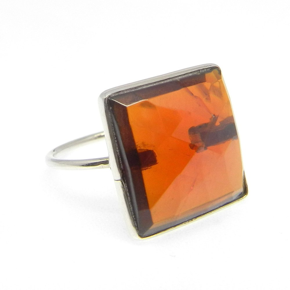 Indian Wholesaler Dark Citrine Hydro Gemstone Ring Solid 925 Sterling Silver Ring Bohemian Stackable High Polished Ring