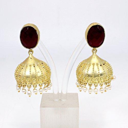 Indian Wholesaler Garnet Hydro & Pearl Gemstone Jhumka Women Wedding Engagement Hanging Dangling Ethnic Designer Gift Earring