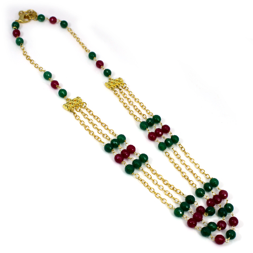 Indian Wholesaler Green Agate & Pink Agate Gemstone Necklace Brass Gold Plated Triple Layer Necklace Women Wedding Wear Jewelry