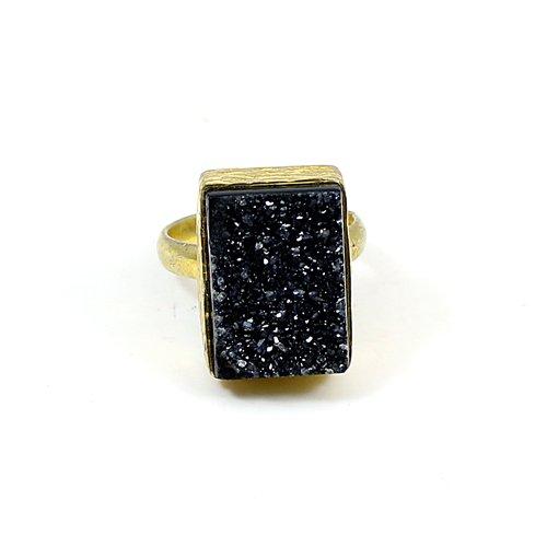 Indian Wholesaler Natural Black Druzy Gemstone Ring Brass Handmade Ring Boho Bezel Rings Unisex Gift Jewelry Anniversary Ring