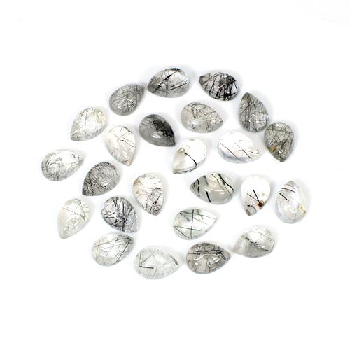 Indian Wholesaler Natural Black Rutile 10x7mm Pear Cabochon 24 Pcs Lot 51.6 Cts Loose Gemstone