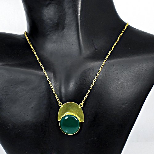 Indian Wholesaler Natural Green Onyx Gemstone Necklace Classic Designer Chain Necklace Women Vermeil Statement Pendant Necklace