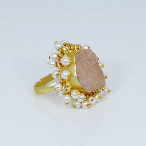 Indian Wholesaler Natural Rose Quartz Gemstone Ring Tiny Pearl Beads Ring Women Gold Plated Adjustable Rings Engagement Rings