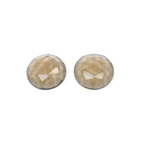 Indian Wholesaler Natural Smoky Quartz 20mm Round Rose Cut 35 Cts 1 Pair Loose Gemstone