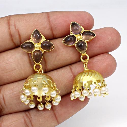 Indian Wholesaler Pink Amethyst Hydro & Pearl Jhumkas Wedding Drop Hanging Dangling Ethnic Women Wear Vermeil Earring