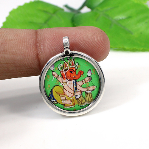 Indian Wholesaler Solid 925 Sterling Silver Jewelry Lord Ganesha Pendant Handmade Painting Pendant Glass Frame Religious Pendant