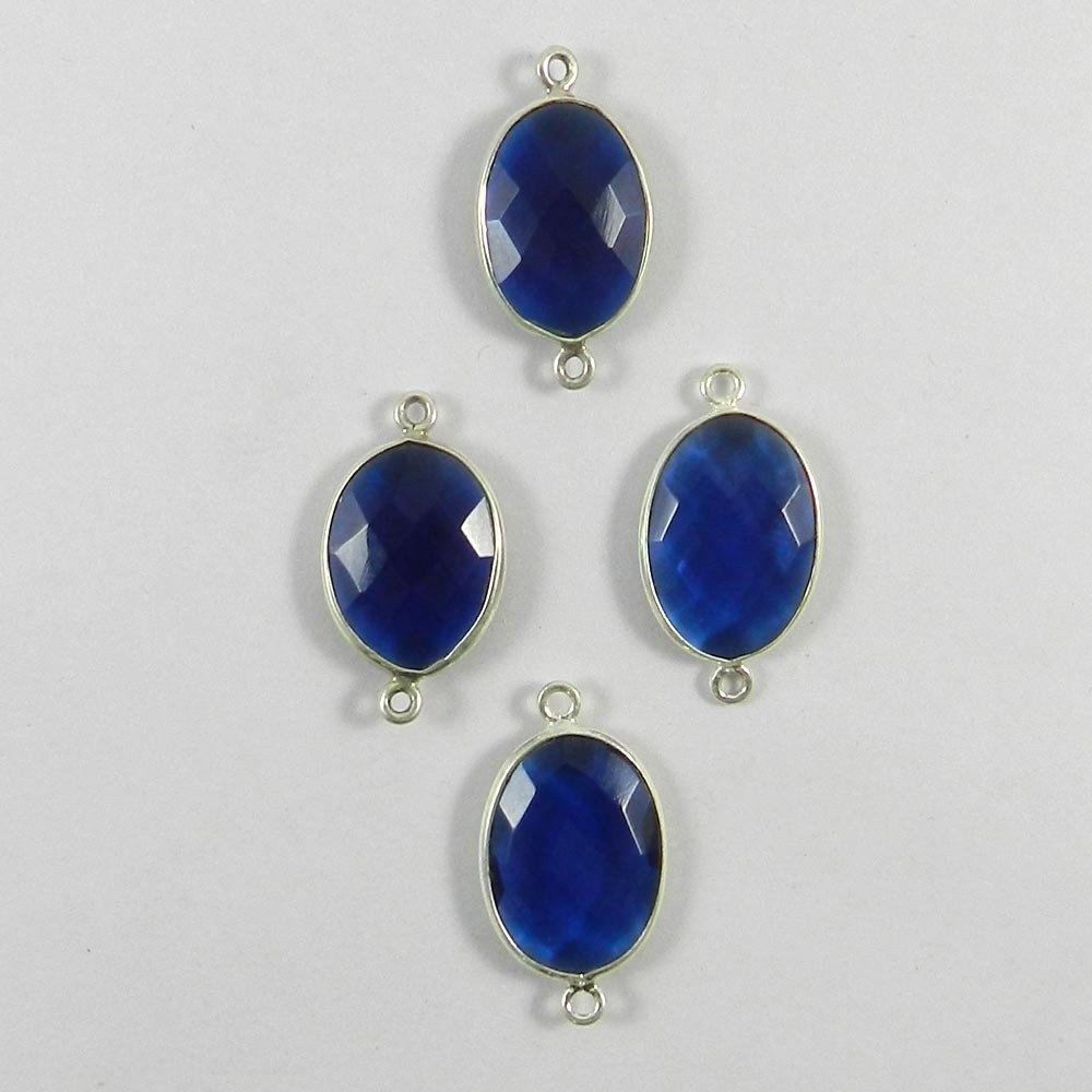 Ink Blue Hydro Oval 25x13mm 925 Sterling Silver Double Loop Connector