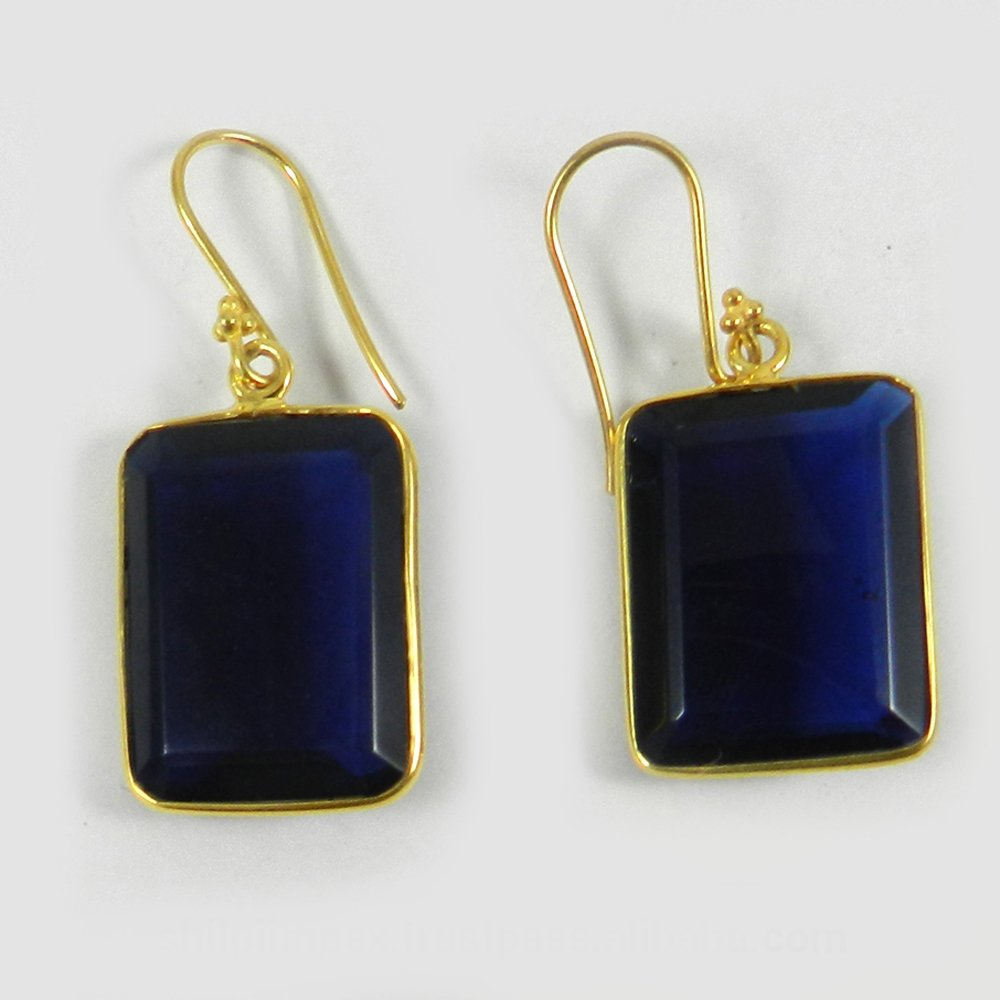 Iolite Hydro Gemstone Silver Bezel Earring