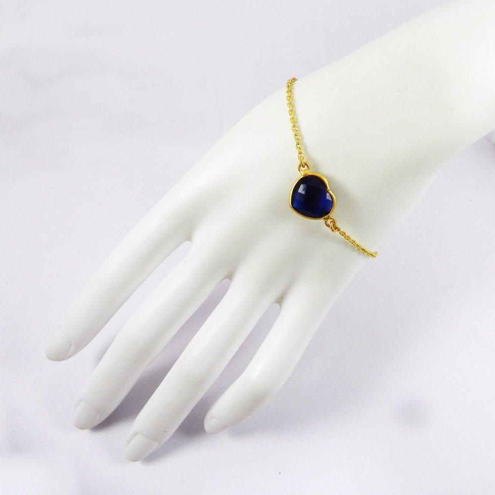 "Iolite Hydro Gold Plated 8"" Link Chain Heart Designer Bracelet"