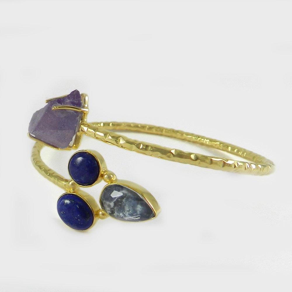 Isabella Amethyst Rough,Sodalite,Lapis Gold Plated Hammered Adjustable Bangle