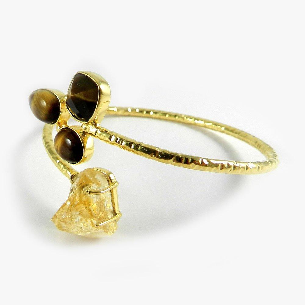 Isabella Citrine Rough & Tiger Eye Gold Plated Hammered Adjustable Bangle