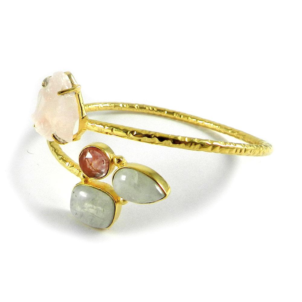 Isabella Rose Quartz Rough,Moonstone,Glass Gold Plated Adjustable Bangle