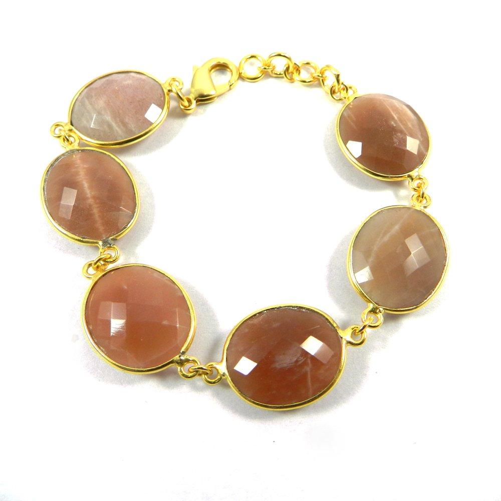 Konni Peach Moonstone Gold Plated Link Chain Designer Bezel Bracelet