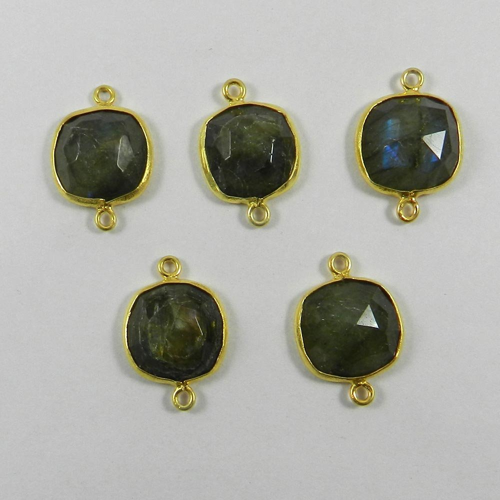Labradorite 22x15mm Cushion Checker Gold Plated Double Loop Connector