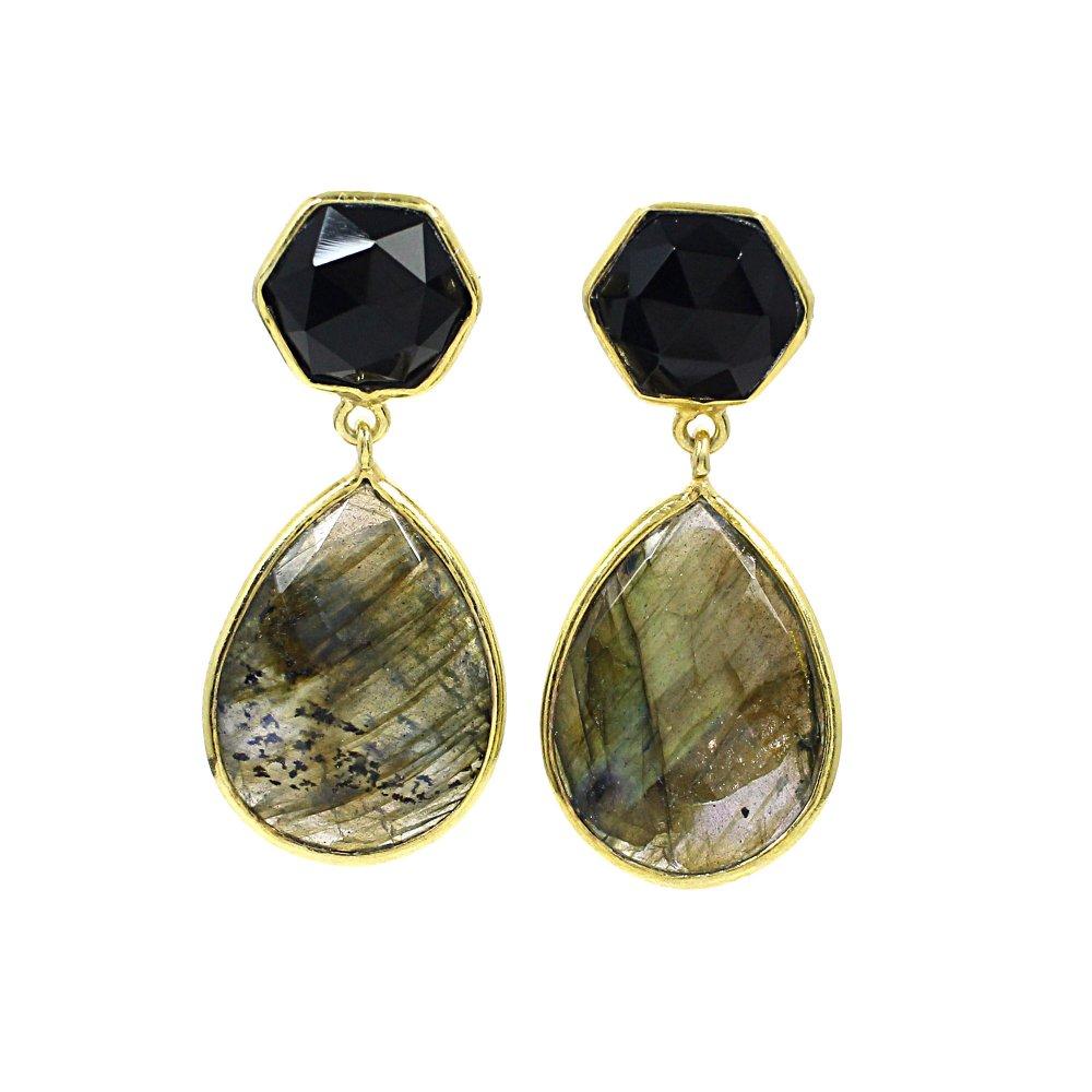 Labradorite & Black Onyx Sterling Silver Gold Plated Stud Earrings