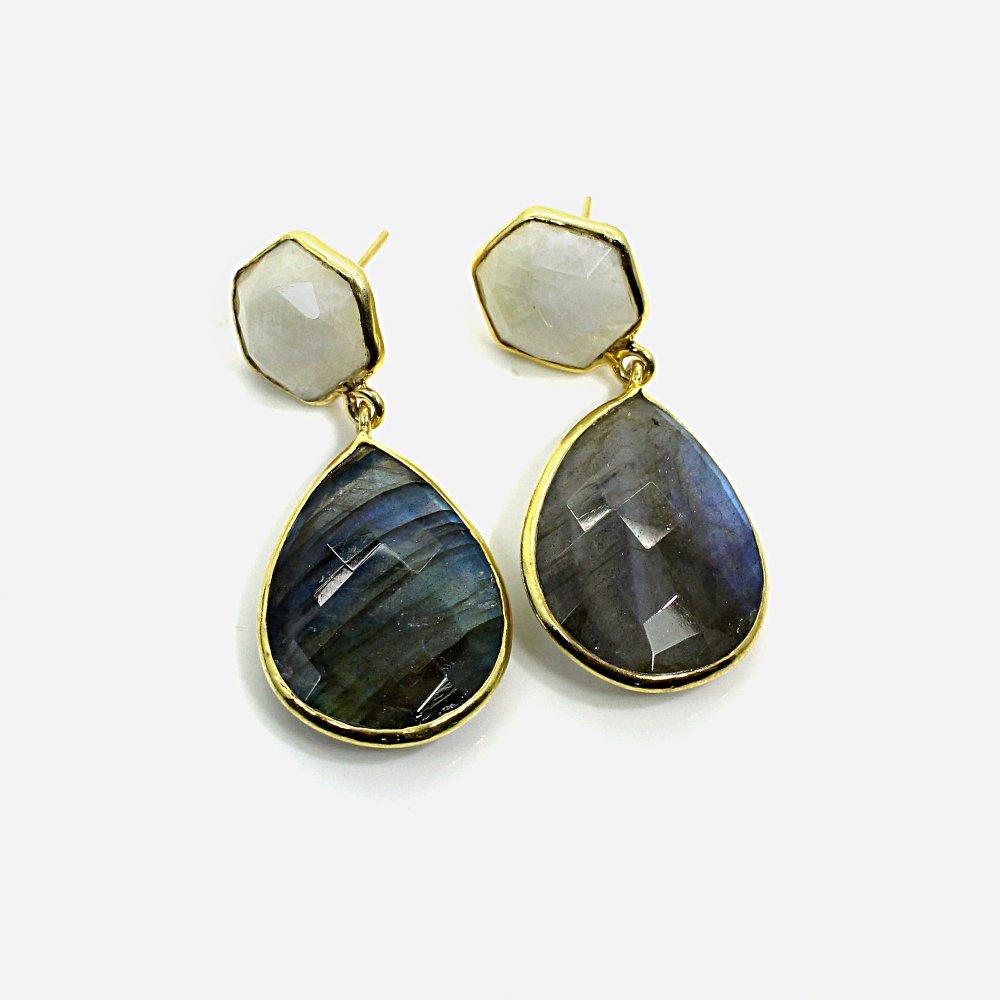 Labradorite & Rainbow Moonstone Sterling Silver Gold Plated Stud Earrings
