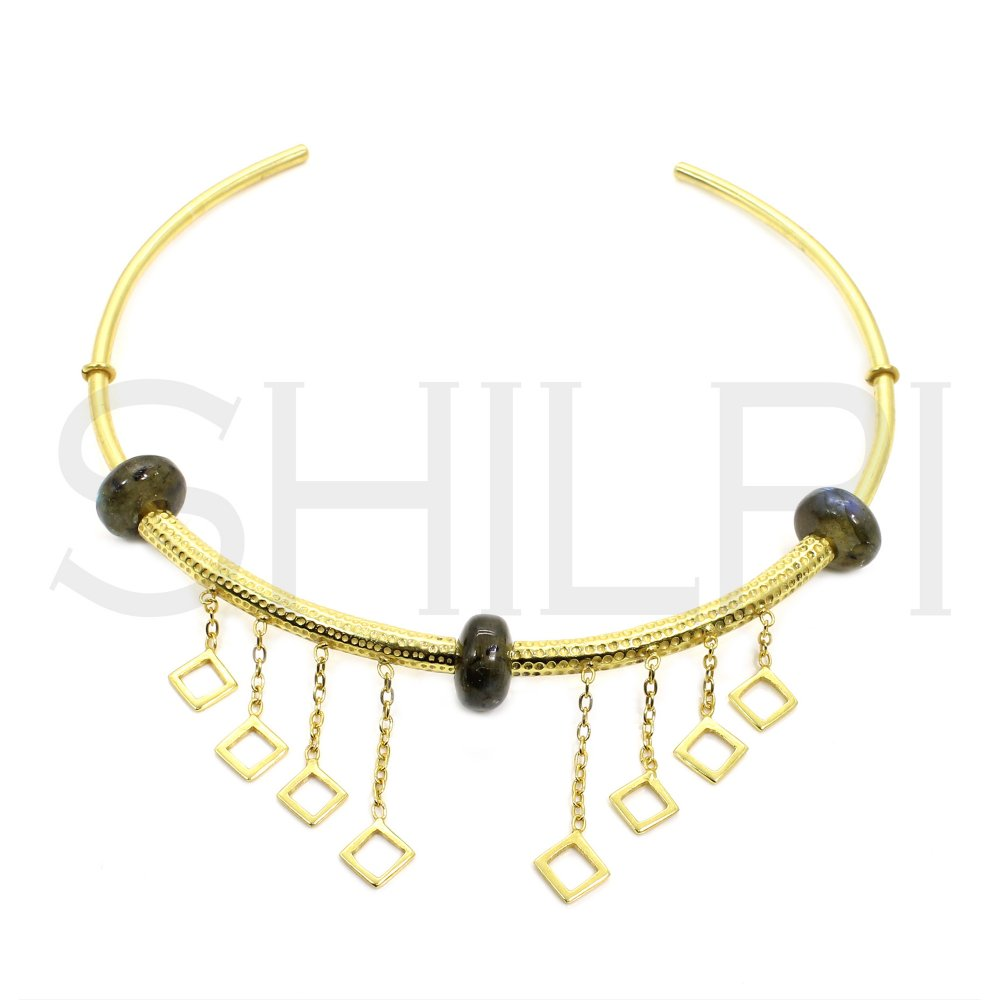 Labradorite Hole Beaded Gold Plated Cuff Necklace With Rhombus Charms