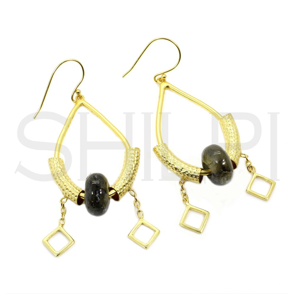 Labradorite Hole Beaded Gold Plated Hammered Texture Dangle Earrings
