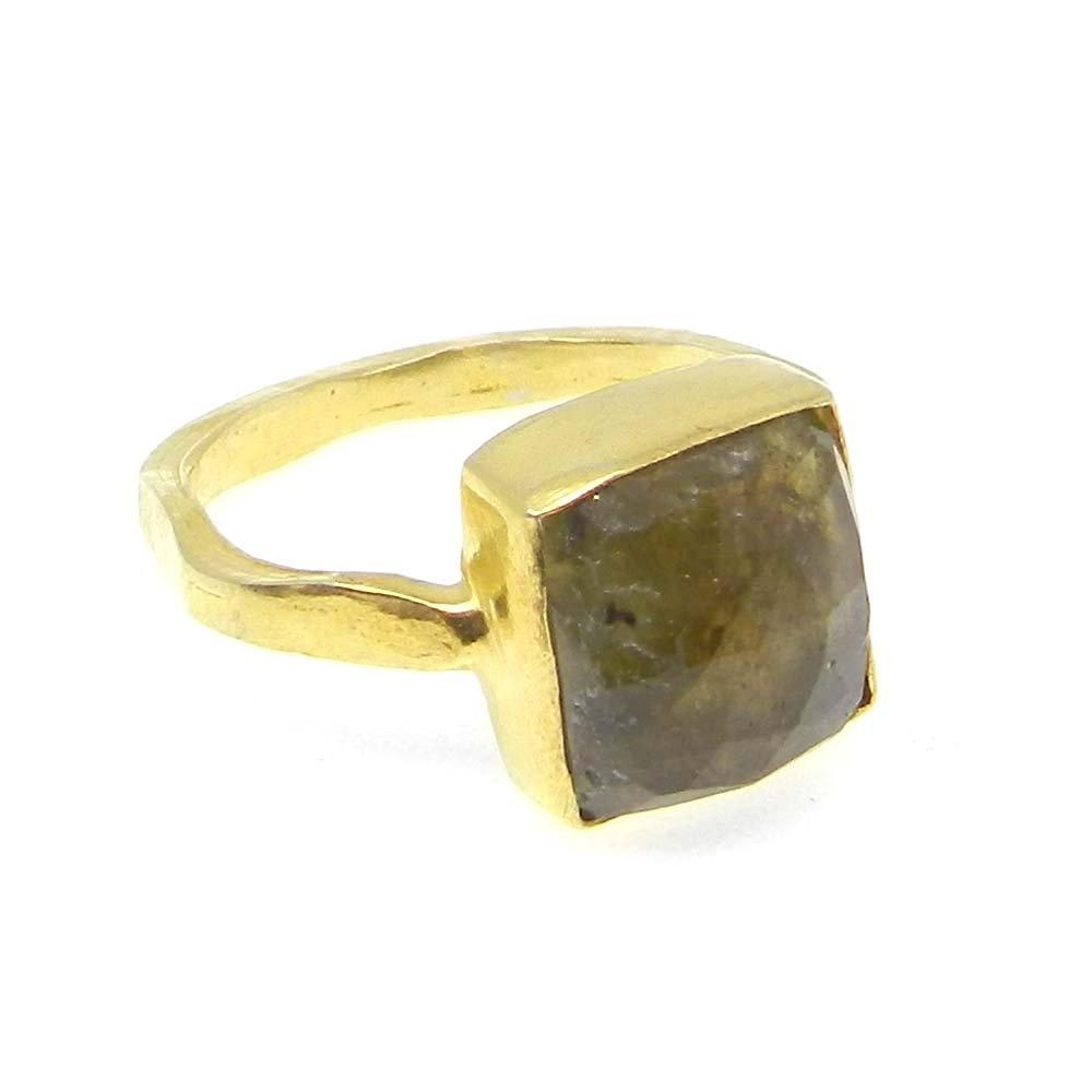 Labradorite Silver Gold Plated Hammered Bezel Set Ring