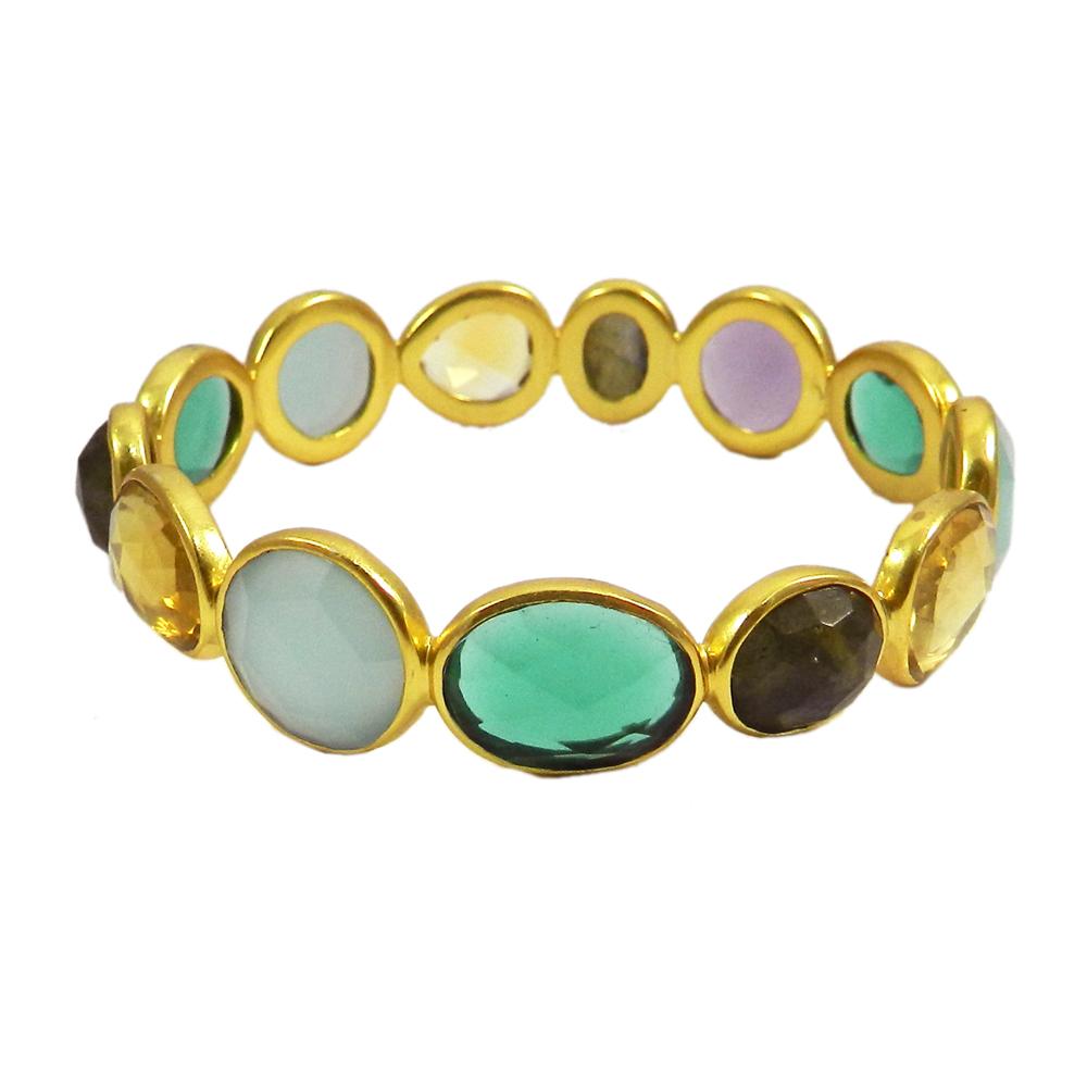 Labradorite,Chalcedony,Apatite Gold Plated Designer Bezel Bangle