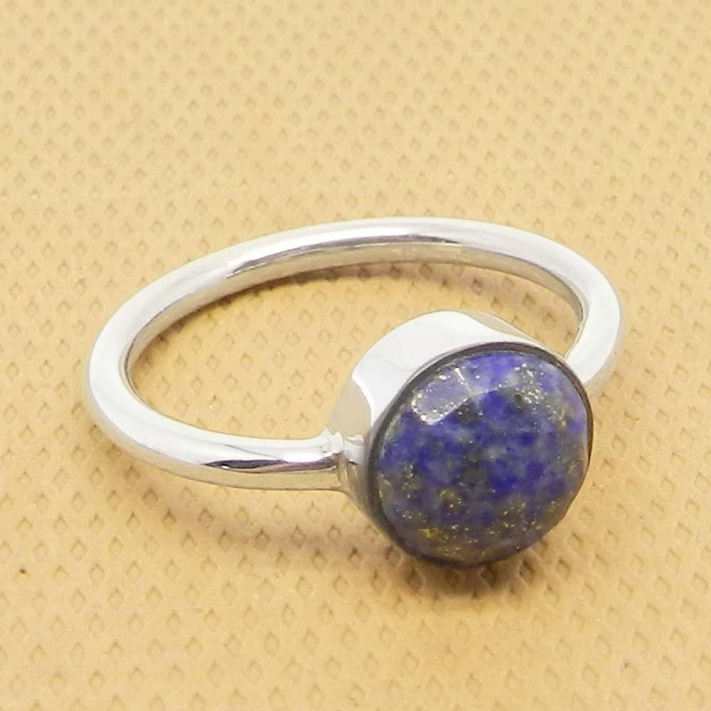 Lapis Lazuli 925 Sterling Silver Bezel Set Ring