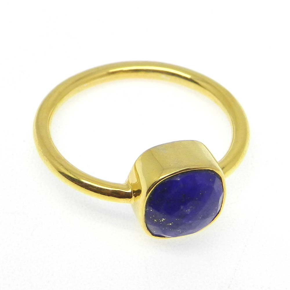 Lapis Lazuli 925 sterling silver gold plated bezel ring