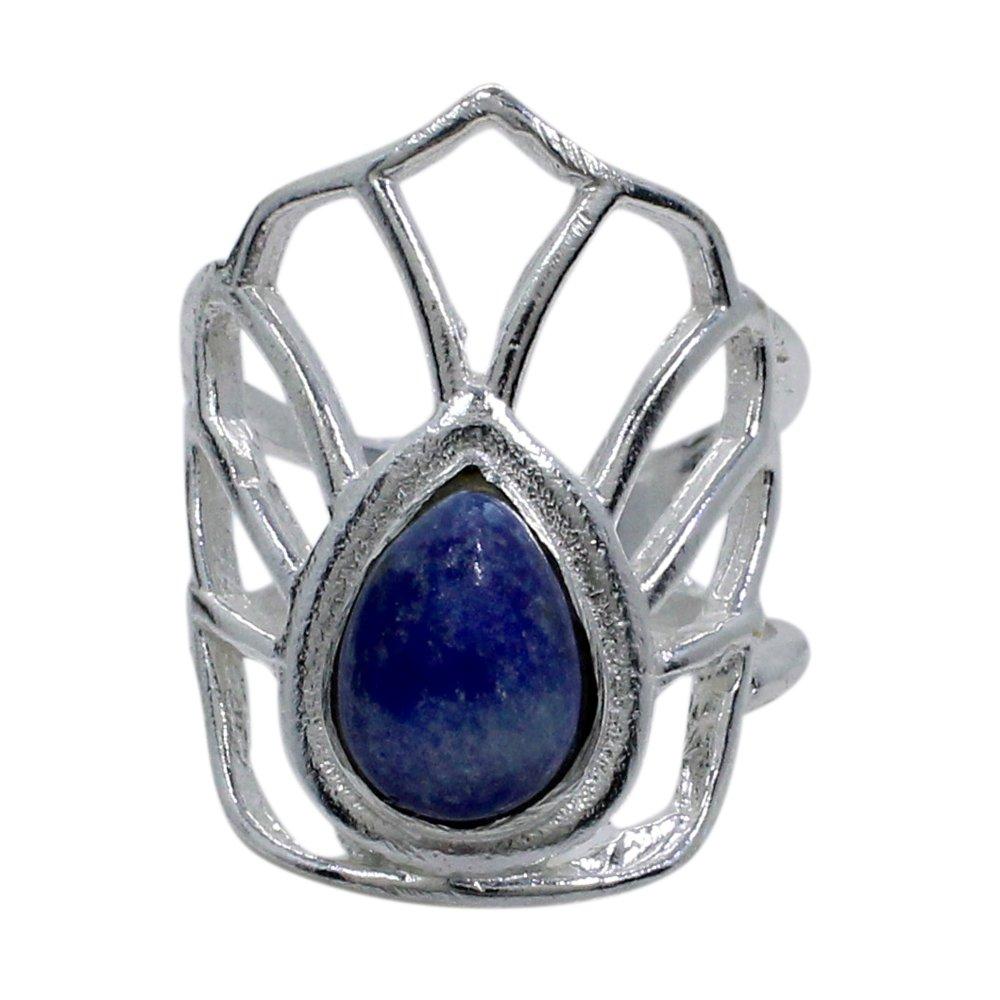 Lapis Lazuli Designer Silver Plated Bezel Set Handmade Simple Ring