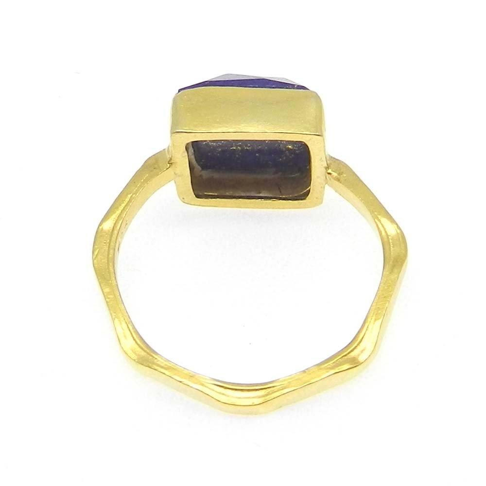 Lapis Lazuli Silver Gold Plated Hammered Bezel Set Ring
