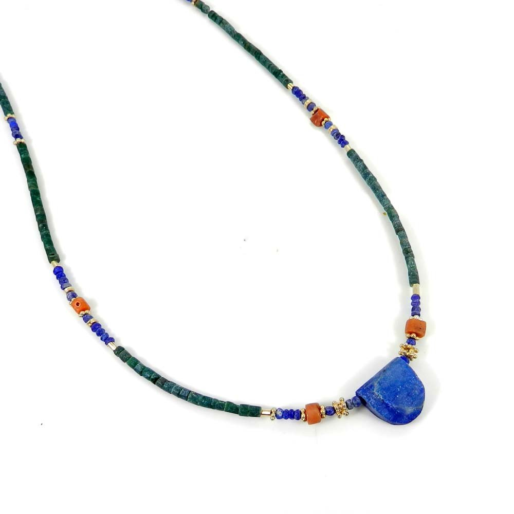 Lapis,Turquoise & Coral Beads Gold Plated Nepalese Designer Beaded Necklace