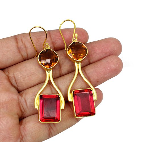 Latest Collection Dark Citrine Hydro & Pink Tourmaline Hydro Gemstone Earring Brass Gold Plated Hanging Dangling Women Earring
