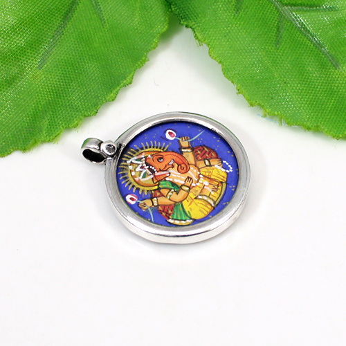 Latest Collection Lord Ganesha Painting Pendant Handmade Spiritual Pendant Solid 925 Sterling Silver Jewelry  Unisex Pendant