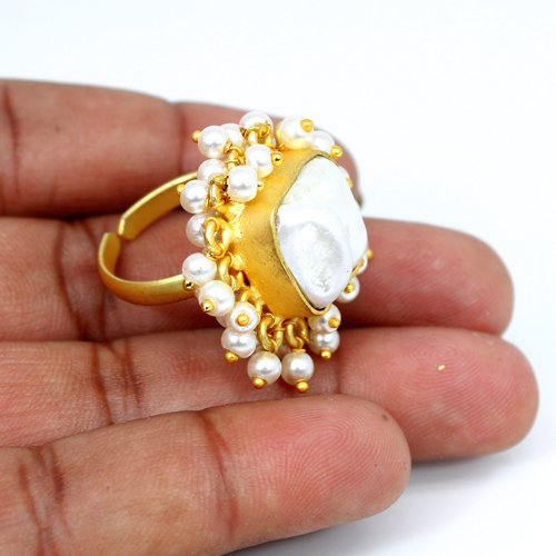 Latest Collection Natural Baroque Pearl Ring Ethnic Designer Tiny Pearl Ring Gold Plated Adjustable Ring Statement Women Rings